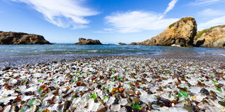 Glass Beach, Fort Bragg California. Colorful glass pebbles blanket this beach in Fort Bragg, the beach was used as a garbage dump years ago, nature has tumbled Royalty Free Stock Photography
