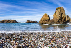 Glass Beach, Fort Bragg California. Colorful glass pebbles blanket this beach in Fort Bragg, the beach was used as a garbage dump years ago, nature has tumbled Stock Photo