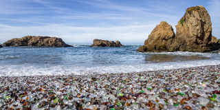 Glass Beach, Fort Bragg California. Colorful glass pebbles blanket this beach in Fort Bragg, the beach was used as a garbage dump years ago, nature has tumbled Stock Photography