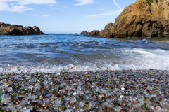 Glass Beach, Fort Bragg California. Colorful glass pebbles blanket this beach in Fort Bragg, the beach was used as a garbage dump years ago, nature has tumbled Stock Image
