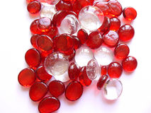 Glass beads. Red/clear glass beads Stock Photo