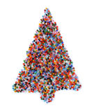 Glass beads christmas tree. Multicolored glass beads in the shape of a christmas tree. Isolated on white Stock Photos