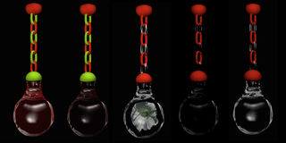Glass beads. Decorative glamor hanging from a chain. 3d illustration on black background royalty free illustration