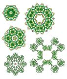 Glass beads design elements. Rosettes, lace decorations in various shades of green and pink. White background Stock Photo