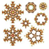 Glass beads design elements - autumn colours. Glass beads design elements - floral,snowflake shapes, rosettes, lace, crochet style. Modified photographs of real Royalty Free Stock Images