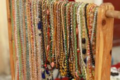Glass beads. At the flea market Stock Photography