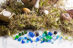 Glass beads with moss Royalty Free Stock Images