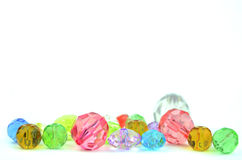 Glass beads on white. A colour glass beads on white Stock Image