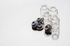 Glass beaker on white background. Medical glass flask on a white background Stock Photo