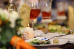 Glass beakers in the restaurant Stock Image