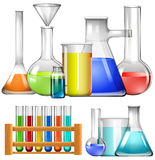 Glass beakers and test tubes Royalty Free Stock Images