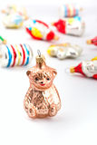 A glass bear christmas decoration piece Royalty Free Stock Images