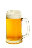 Glass with beer. Glass with light beer isolated on the white royalty free stock photo
