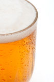 Glass of Beer. Closeup of Glass of Draught Beer on White Background - Shallow Depth of Field stock photos