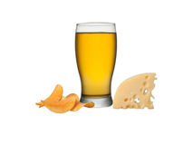 Glass of beer. With crisps and cheese, isolated on a white background Royalty Free Stock Photography