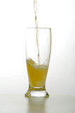 Glass of beer. Drink in movement. Liquid that it falls down in a glass Royalty Free Stock Image