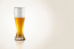 A glass of beer. A glass of cold beer on a white background Royalty Free Stock Photography