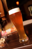 Glass of beer in bar. The glass of beer in a bar Royalty Free Stock Photo