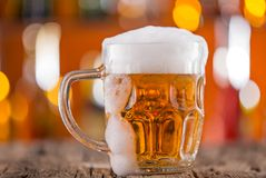 Glass of beer on bar desk Royalty Free Stock Photo