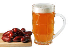 Glass of beer with Bavarian sausages Stock Images