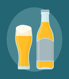 Glass of beer and bottle. Isolated on dark blue background. Flat style, vector illustration Vector Illustration