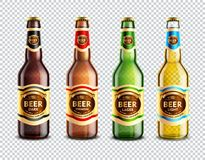 Glass Beer Bottles Transparent Background. Set of 3d glass beer bottles with colorful stickers isolated on transparent background vector illustration Royalty Free Stock Photo