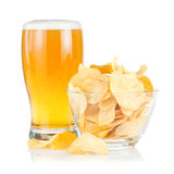 Glass Beer and bowl of with Pile potato chips Royalty Free Stock Photo