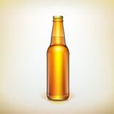 Glass beer brown bottle. Product packing. Royalty Free Stock Images