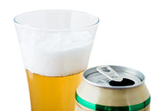 Glass with beer and can Stock Photos
