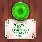 Glass of beer and card, St Patrick's day Stock Photos