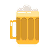 Glass of beer cartoon vector illustration. Glass of beer with foam cartoon style vector illustration  on white Royalty Free Stock Photography