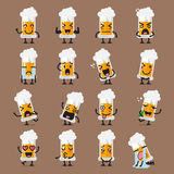 Glass of beer character emoji set Royalty Free Stock Photography