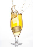 Glass of beer cider with ice cube splash on white Royalty Free Stock Photos