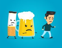 Glass of beer and cigarette chasing a man. Vector flat style fun cartoon character modern illustration design. alcohol and nicotine addiction kill concept royalty free illustration