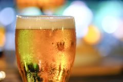 Glass of beer with colorful light background. A glass of beer with colorful light in night pub stock photography