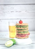 Glass of  beer with crispbread sandwich Royalty Free Stock Photo