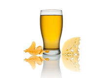 Glass of beer, crisps and cheese isolated on a white background Stock Image