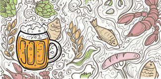 Glass of beer on the doodle background. Can be used for posters, postcards, prints. EPS 10 vector background with irish proverb Royalty Free Stock Image