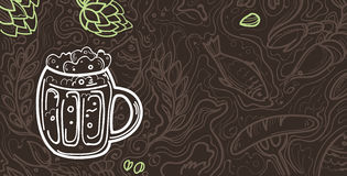Glass of beer on the doodle background. Can be used for posters, postcards, prints. EPS 10 vector background with irish proverb Royalty Free Stock Images