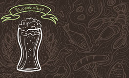 Glass of beer on the doodle background. Can be used for posters, postcards, prints. EPS 10 vector background with irish proverb Stock Image