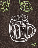 Glass of beer on the doodle background. Stock Photography