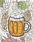 Glass of beer on the doodle background. Royalty Free Stock Photos