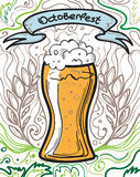 Glass of beer on the doodle background. Can be used for posters, postcards, prints. EPS 10 vector background with irish proverb Stock Images