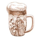 A glass of beer with a drawing inside. A glass of a beer with a drawing inside with two man Stock Photos