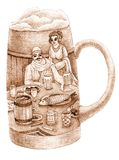 A glass of beer with a drawing inside. A glass of a beer with a drawing inside with man and woman Stock Image
