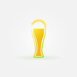 Glass of beer with ear of wheat logo Stock Photos