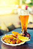 Glass of beer and fish Stock Photos