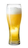 Glass of beer with foam and bubbles isolated Royalty Free Stock Photography