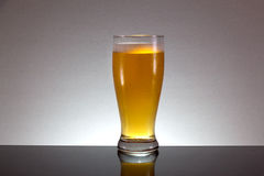 Glass of beer with foam on gray background. Glass of beer with foam stock image