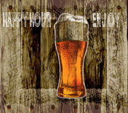Glass of beer with foam. wood background beer happy hour-enjoy.vector illustration Stock Photos